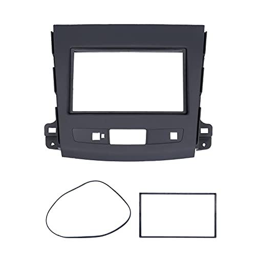 Navegación GPS para automóvil Marco de cubierta Trim Interior 2 Din Estéreo Radio Fascia Juego de cubierta Panel de navegación de audio y DVD Marco compatible con Mitsubishi Outlander 2008-201