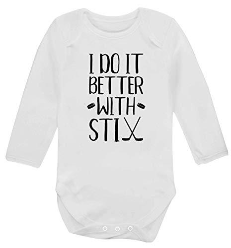 Flox Creative Gilet à Manches Longues pour bébé Inscription I do it Better with stix Hockey - Blanc - XS