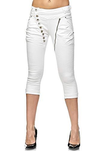 Elara Damen 3/4 Jeans Kurze Capri Slim Fit High Waist Hose Chunkyrayan C936/ Small2K-1 White, Gr.- 36/ Small