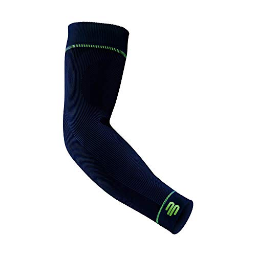 "Bauerfeind Arm Sleeve ""Sports Compression Sleeves Arm"", 1 Paar Sport Kompressions-Armbandagen, Armlinge für Ball & Ausdauersportarten zur Stärkung der Muskulatur, Armstulpen,  Marineblau, L lang"