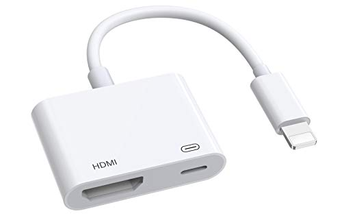 HDMI Adapter for iPhone to TV,1080P Digital AV Adapter,Sync Screen HDMI Connector for iPhone & iPad-White (Compatible with iOS, No Application Need)