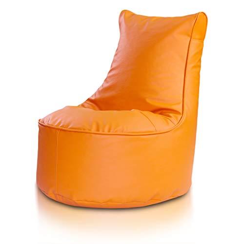 Bepouf Poltrona Sacco Puf Pouf Con Schienale Alto Dimensioni 85x80 Ecopelle Pieno (Arancione, L)
