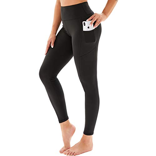 HIGHDAYS Printed Yoga Pants for Women with Pockets - High Waisted Tummy Control Women's Leggings for Workout Running Athletic(XX-Large, Black)