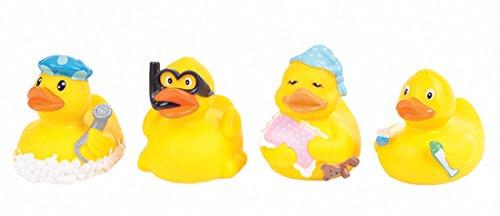 Funny Duck 4 Stück Badeente vier lustige Enten mit Quietscher