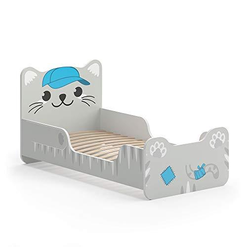 VitaliSpa Kinderbett Tommy 80x160 cm Grau Juniorbett Jugendbett Katze Jungenbett
