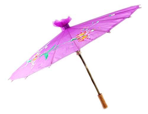 Chinesisch / Japanisch Blumenmuster Sonnenschirm Geisha Schirm - 80cm durchmesser - Lila, 80cm
