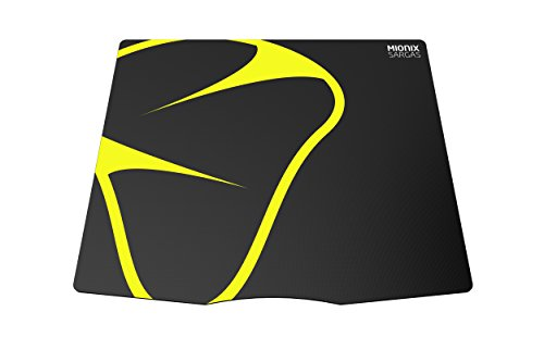 Mionix Sargas Small Gaming Mousepad (9.5 x 8.3 x 0.08 Inch), Mini Speed Surface, Black and Yellow