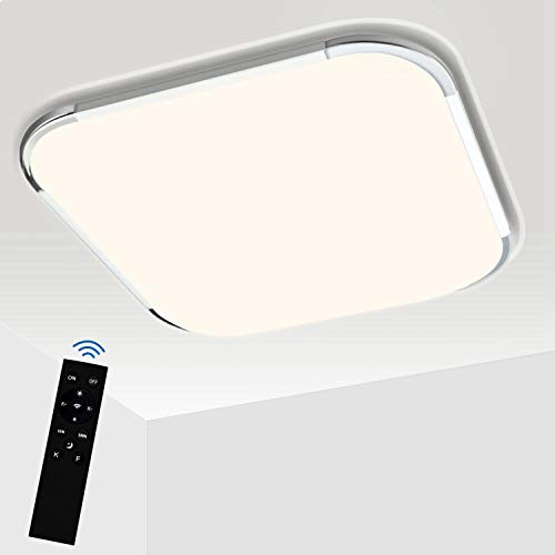 Hengda LED Plafoniera Dimmerabile 24W, Lampada da soffitto LED con telecomando, luminosità del colore e Temperatura regolabile, per Soggiorno Camera da letto Cameretta Bambini Bagno Cucina
