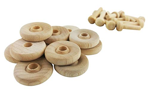 Wood Wheels - 100 Pack with Free Axle Pegs - Made in USA (.75' Diameter)