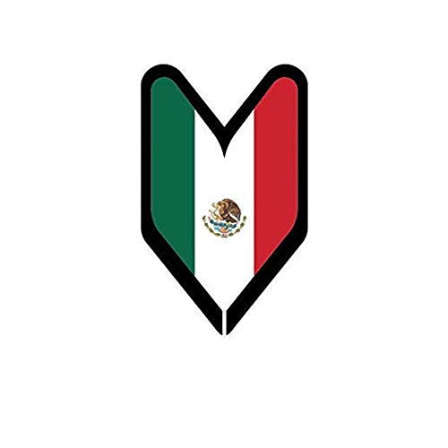 Set of 3 - Mexican Driver Badge Wakaba Leaf Soshinoya Mexico MEX MX - Sticker Graphic - Auto, Wall, Laptop, Cell, Truck Sticker for Windows, Cars, Trucks