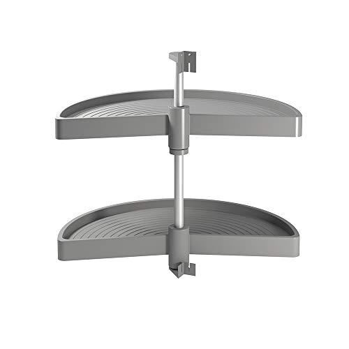EMUCA - Kit de bandejas giratorias para Mueble de Cocina esquinero, bandejas giratorias 1/2 Luna de Ø650mm para modulo de 800mm, Gris