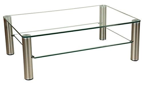 tischdesign24 Darwin2051 Couchtisch mit Einer 12mm starken Glasplatte. Stollen in 80mm rund Chrom gebürstet mit Rollen. Klarglas Größe: 120 x 80 cm Rechteckig Höhe: 42cm