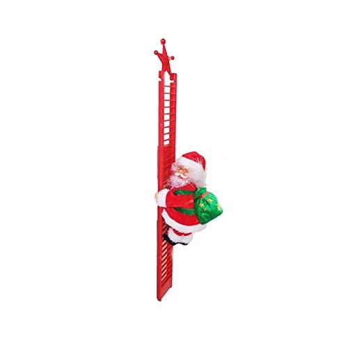 FENGLI Electric Climbing Ladder Santa Claus, Electric Plush Doll Santa Claus Toy, Christmas Ornament (Color : A)