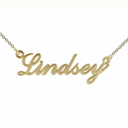 Small 9ct Yellow Gold Plated on Argentium Sterling Silver Carrie Style (Sex & The City) Personalised Name Necklace With 16' (41cm) Trace Chain In Presentation Gift Box - ANY NAME MADE (See Description)