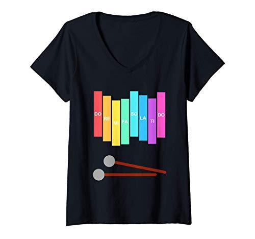 Mujer Msica Xilfono Instrumento de percusin vintage Color del Camiseta Cuello V