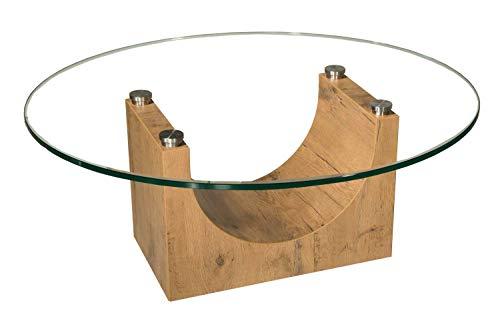 tischdesign24 Faro-K318 Couchtisch mit Klarglasplatte. Gestell in hochwertiger HPL-Wildeiche-Optik mit integrierten Rollen. Größe: 90cm rund, Höhe: 46cm