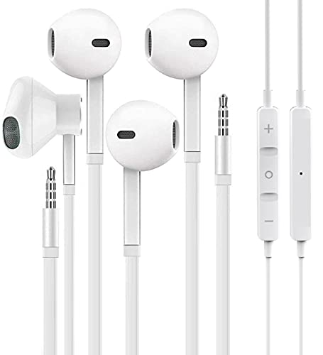 2 Pack Wired Earbuds Headphones for Computer 3.5mm Earphones with Microphone for iPhone Headphones Noise Isolating Volume Control Stereo Bass Compatible with iPhone iPad iPod PC MP3 Android