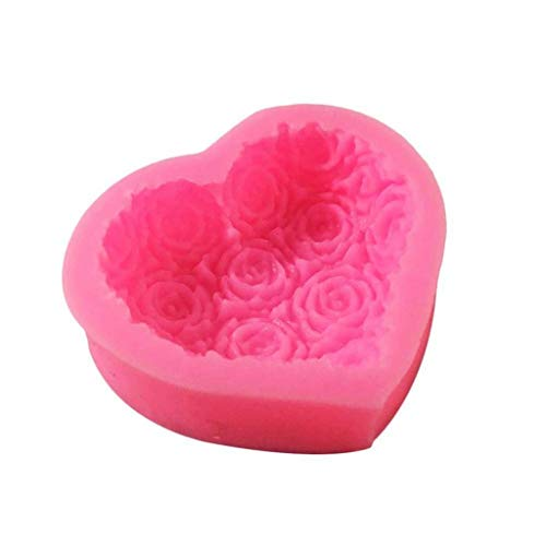 JYDQM 1 stück 3D Liebe Herz Rose Blume Form Silikonform Fondant Schokoladenkuchen Dekorieren Backwerkzeuge Formen Mold Seife