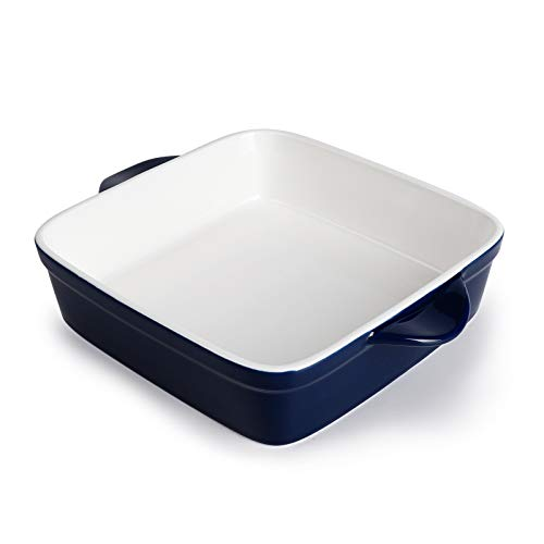 Sweese 514.103 Porcelain Baking Dish, 8 x 8 inch Baker, Square Brownie Pan with Double Handle, Navy