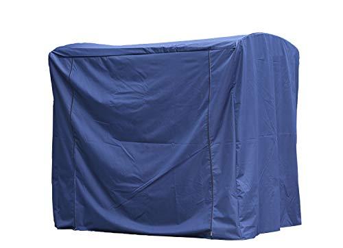 Angel Living Hollywoodschaukel Gartenschaukel Rattan 3 Sitzer (Schutzhülle Blau)
