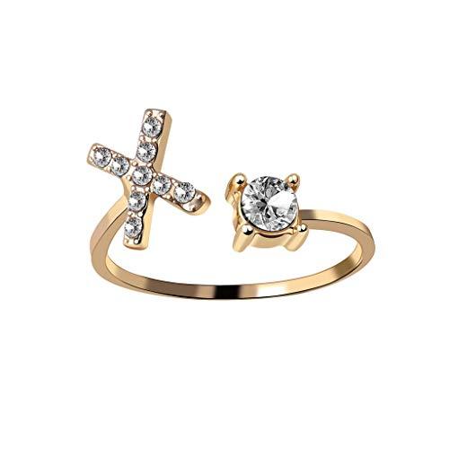 Sayhi Women Exquisite Fashion 26 English Alphabet Anniversary Rings Fashion Jewelry Valentine's Day (X,Adjustable)
