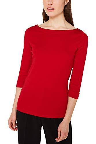 ESPRIT Damen 999Ee1K800 Langarmshirt, Rot (Dark RED 3 612), Large (Herstellergröße:L)