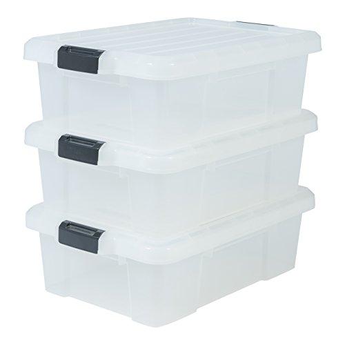 Iris Ohyama, Set - 3 Boîtes de Rangement avec Fermeture Clic - Power Box - SK-230, Plastique, Transparent, 25 L, 59 x 38,5 x 18 cm