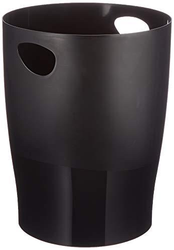 Exacompta 453014D ECOBIN Papierkorb EcoBlack 15 Liter mit Griffen. Eleganter und robuster Papierkorb und Mülleimer im modernen Design schwarz Blauer Engel