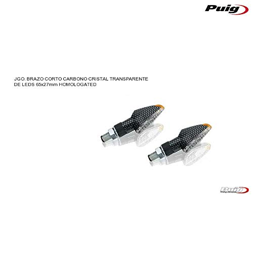 PUIG 4493 C LED Intermitente Pico Corto Tallo y Lente Transparente, Base de Carbono, 65 x 27 mm, Juego de 2