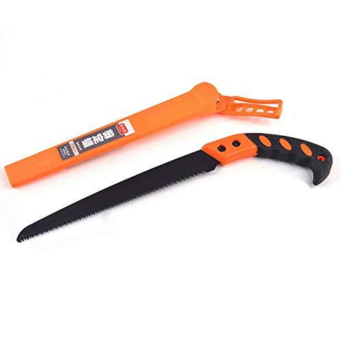 Gosear Scie d'élagage professionnelle Scie à main droite robuste avec étui de protection pour le jardinage Fournitures de coupe d'arbres