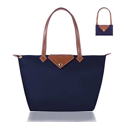 BOJLY Bolsos Totes para Mujer, Bolsos para las mujeres Diamante Nylon Tote Bag Ladies Shopping Plegable Tote Bolsa de viaje de playa Impermeable Casual Azul Grande