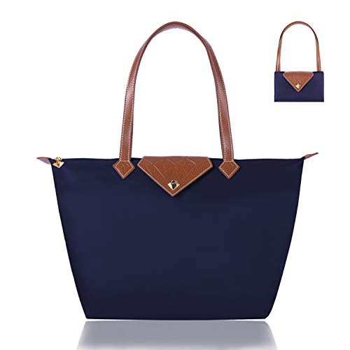 BOJLY Bolsos Totes para Mujer, Bolsos para las mujeres Diamante Nylon Tote Bag Ladies Shopping Plegable Tote Bolsa de viaje de playa Impermeable Casual Azul Grande