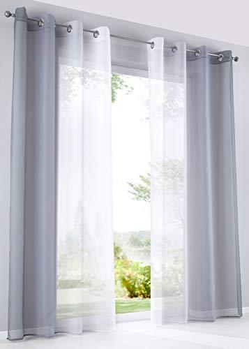 2er Pack Gardinen Vertikal Farbverlauf Druck Transparent »Modena« mit Ösen und Raffhalter, Vorhang, Dekoschal HxB 225x140 cm Grautöne, 10000183