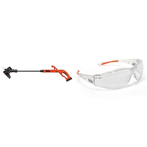 BLACK+DECKER 20V MAX String Trimmer/Edger Kit, 10-Inch with Safety Eyewear, Lightweight, Clear Lens (LST201 & BD250-1C)