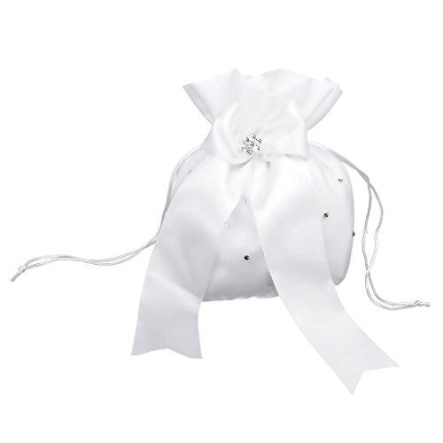 Hochzeit Satin Dolly Tasche Brauttasche Handtasche Brautbeute Bowknot 3 farbe auswahl - Weiß , one size