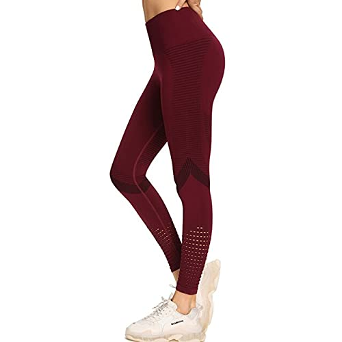 CYMTZ Seamless Hollow out Fitness Leggings Women High Waist Yoga Pants Gym Sport Tights Running Training Trousers S Purple