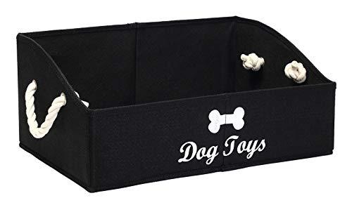 MOREZI Aufbewahrungsbox für Haustierspielzeug aus Segeltuch,faltbare Aufbewahrungsbox für Hundespielzeug,zum Organisieren von Spielzeug für Haustiere,Zubehör und Zubehör usw-Hund-Schwarz