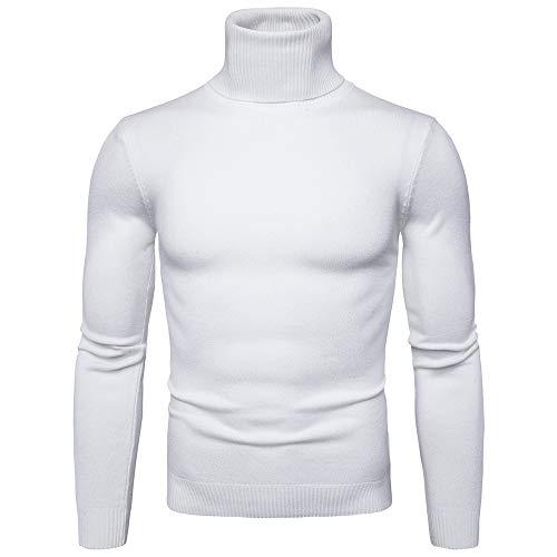 Mambain Maglione Dolcevita Uomo Inverno Autunno Maglioni A Maglia Uomo Collo Alto Manica Lunga Elegante Caldo Tinta Unita Pesante Slim Fit Taglie Forti Pullover Felpa (Bianco,L)
