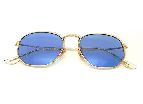 CZ - Gafas de sol para hombre y mujer octogonal ovaladas con cristales planos azul claro dorado