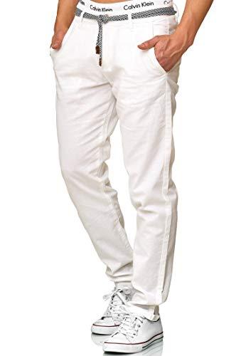 Indicode Herren Haverfield Stoffhose aus 55% Leinen & 45% Baumwolle m. 4 Taschen inkl. Gürtel | Lange sportliche Regular Fit Hose Baumwollhose Leinenhose Freizeithose f. Männer Offwhite S