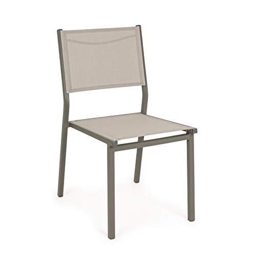 ARREDinITALY Lot de 6 chaises empilables pour étendus en Aluminium et textilène Taupe