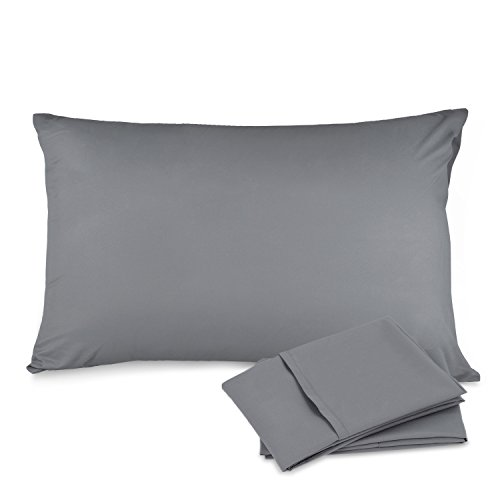 Adoric Pillow Cases Standard Size - 100% White Grinding Cloth, Ultra comfortable - Envelope Closure End - Wrinkle, Fade, Stain Resistant - Set of 2