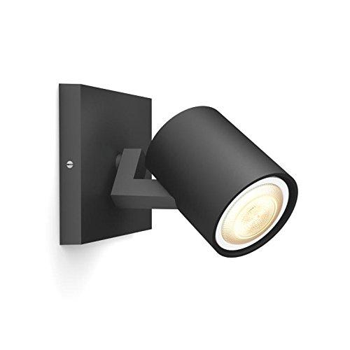 Philips Hue Pillar Foco Inteligente Negro LED, Luz Blanca de Cálida a Fría, Compatible con Alexa y Google Home