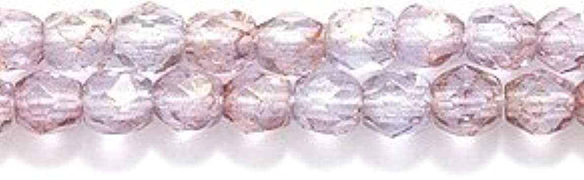 Preciosa Czech 3-mm Fire-Polished Glass Bead, Faceted Round, Picasso Pink on Light Sapphire, 300/pack
