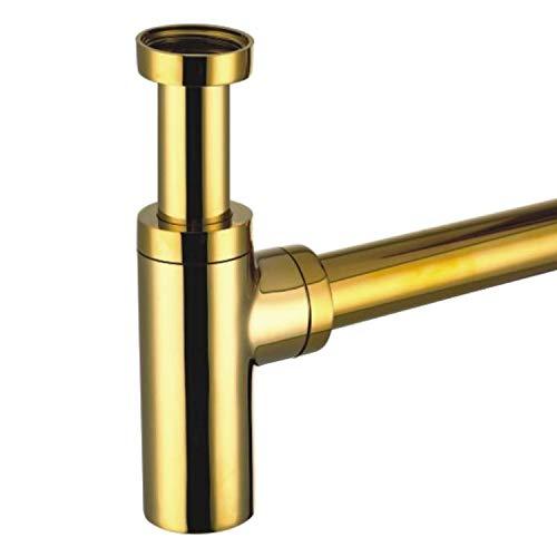 Sifón de diseño redondo, color dorado y dorado