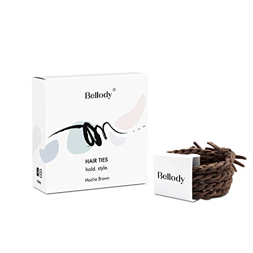 Bellody® Original Haargummis - Stylisch geflochtene Haargummis mit starkem Halt (4 Stück - Mocha Brown)