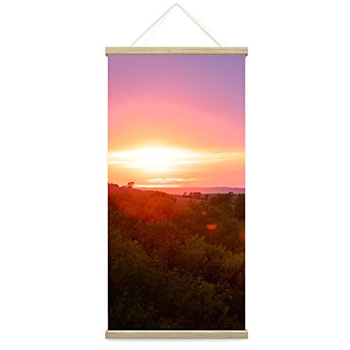 """Bestdeal Depot Hanging Poster Mountain View Sunset VIII Coastal Multicolor Photography Relax/Calm Romantics Sunset Canvas Prints Wall Art for Living Room, Bedroom - 18""""x36"""""""