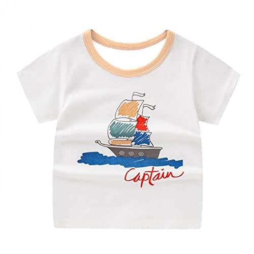 NiceJoy Schönheitspflegeprodukte Kleinkind T-Shirt-Kind-drucke Kurzarm T-Shirt Top-Baby-Mädchen-Sommer-Baumwoll Outfit Weiß 120cm