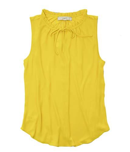 Ann Taylor LOFT Women's Mixed Media Ruffle Shell Tank (Medium, Sunny Yellow)
