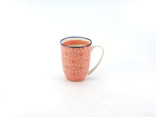 Creatable Mediterran Kaffeebecher/Henkelbecher/Tasse aus Steingut Rot spülmaschinenfest 300 ml
